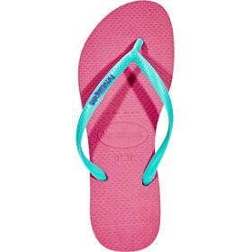 havaianas Slim Logo Flips women shocking pink